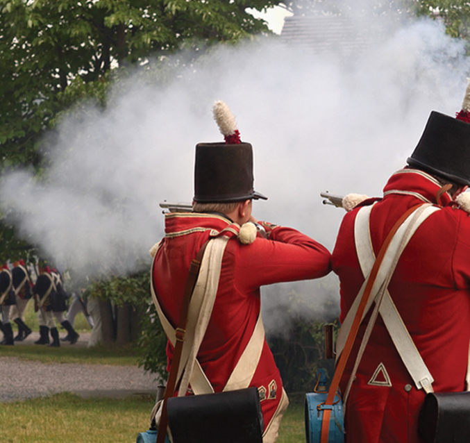 A photo of a battle reenactment