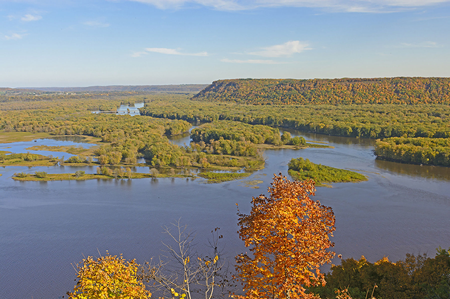 Breath-taking view of the surrounding bluffs and river
