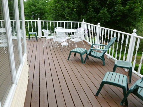 The deck with tables and seating
